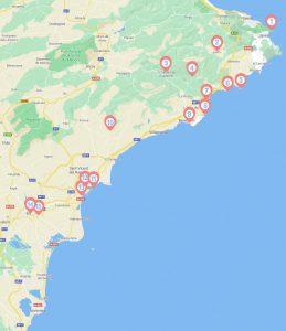 15 bezienswaardigheden aan de Costa Blanca genummerd in een kaartje